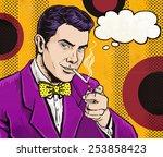 Pop Art Man Smoking Cigarette...