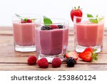 drink smoothies summer... | Shutterstock . vector #253860124