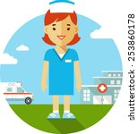 medicine concept in flat style... | Shutterstock .eps vector #253860178