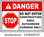 danger do not enter... | Shutterstock .eps vector #253860520