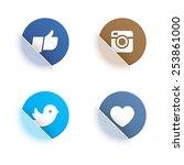vector set of social network... | Shutterstock .eps vector #253861000