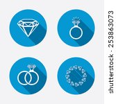 rings icons. jewelry with shine ... | Shutterstock .eps vector #253863073