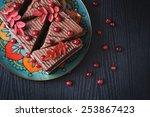 chocolate cake and ripe...   Shutterstock . vector #253867423