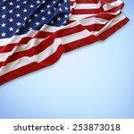 american flag on blue background | Shutterstock . vector #253873018