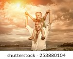 happiness son seating on the... | Shutterstock . vector #253880104