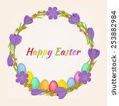 easter wreath with crocus... | Shutterstock .eps vector #253882984