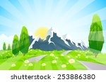 green landscape with road... | Shutterstock . vector #253886380