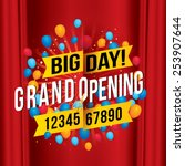 grand opening with red curtain... | Shutterstock .eps vector #253907644