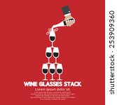 Wine Glasses Stack On Red...