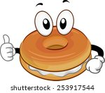 mascot illustration of a bagel... | Shutterstock .eps vector #253917544
