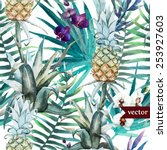 Watercolor  Palm  Pattern ...