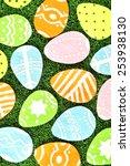colorful felt easter eggs on... | Shutterstock . vector #253938130