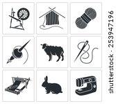 Wool  Knitting Vector Icons Set