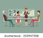 woman presenting a growth chart ... | Shutterstock .eps vector #253947508
