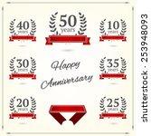 vector set of anniversary... | Shutterstock .eps vector #253948093