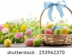 Basket Of Easter Eggs With...