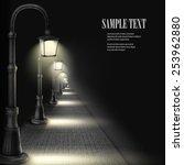 lamps along paving block street.... | Shutterstock .eps vector #253962880