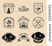 vector set of vintage camping... | Shutterstock .eps vector #253965493