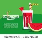 watermelon fresh smoothie for... | Shutterstock .eps vector #253970260