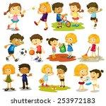 illustration of children doing... | Shutterstock .eps vector #253972183