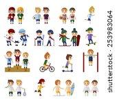 sports people set  vector eps10 ... | Shutterstock .eps vector #253983064