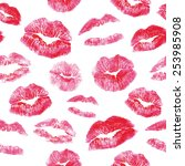 seamless pattern   red lips... | Shutterstock .eps vector #253985908