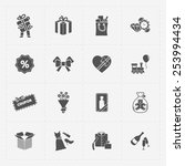 gift flat black shop icon set... | Shutterstock .eps vector #253994434
