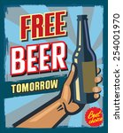 vintage style free beer... | Shutterstock .eps vector #254001970