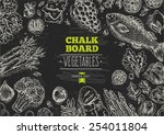 healthy vegetables chalkboard... | Shutterstock .eps vector #254011804