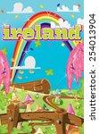 ireland cartoon travel poster. | Shutterstock . vector #254013904