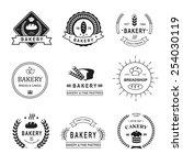 set of bakery logos  labels ... | Shutterstock .eps vector #254030119