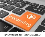 e learning on keyboard enter... | Shutterstock . vector #254036860