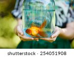 Jar With Gold Fish In Hands Of...