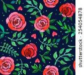 boho style roses seamless... | Shutterstock .eps vector #254054878