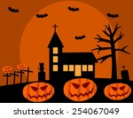 halloween with church and... | Shutterstock .eps vector #254067049