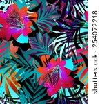 seamless abstract tropical...   Shutterstock . vector #254072218