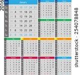 calendar for the 2016 year | Shutterstock .eps vector #254078848