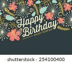 happy birthday card with... | Shutterstock .eps vector #254100400