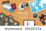 traveler's desktop with... | Shutterstock .eps vector #254107276