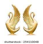 Golden Swan Sculpture On White...
