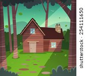 cabin in woods   Shutterstock .eps vector #254111650
