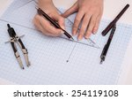 hands drawing a graphic  on... | Shutterstock . vector #254119108