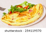 Omelet With Bacon And Salad