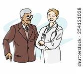 female doctor caregiver... | Shutterstock .eps vector #254121028