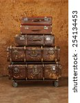 pile of vintage suitcases.... | Shutterstock . vector #254134453
