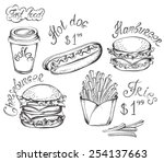 vector hand drawn fast food set ... | Shutterstock .eps vector #254137663