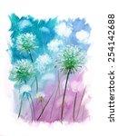 Onion Flowers Watercolor...