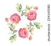 beautiful  roses garland | Shutterstock . vector #254145580