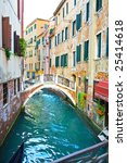 View of a canal and Restaurant in Venice, italy - stock photo