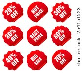 realistic red discount stickers ... | Shutterstock .eps vector #254151523